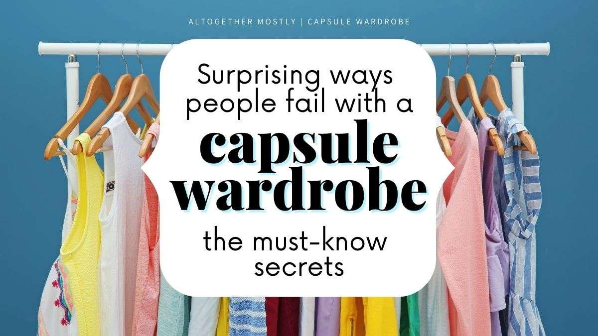 colorful minimal clothing text overlay capsule wardrobe secrets