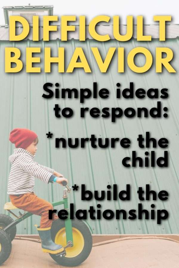 boy on tricycle text overlay ideas to respond to child's difficult behavior